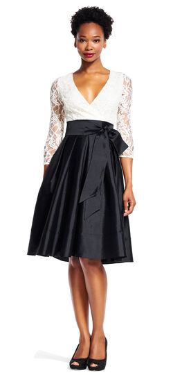 Tafetta Fit and Flare Dress with Sheer Lace Sleeves