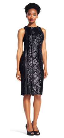 Cable Knit Sequin Sheath Dress with Jersey Back