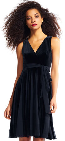 Velvet Fit and Flare Dress with Chiffon Skirt