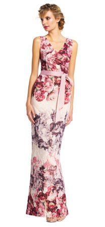 Metallic Floral Column Gown with V-Neck