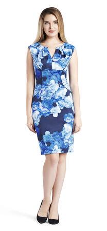 Floral Print Split Neck Sheath Dress