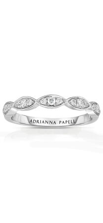 Diamond Marquise Wedding Band in 14K White Gold