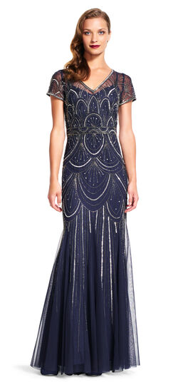 Short Sleeve Cascade Beaded Gown with Illusion Neck