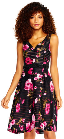 Rose Print Burnout Fit and Flare Dress with Beaded Waist