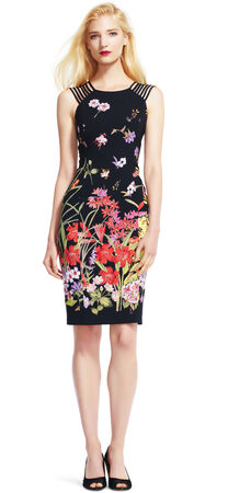 Wildflower Print Sheath Dress with Strappy Sleeves
