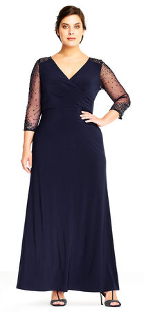 Jersey Gown with Sheer Beaded Three Quarter Sleeves