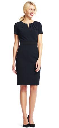 Short Sleeve Sheath Dress with Pleated Neckline