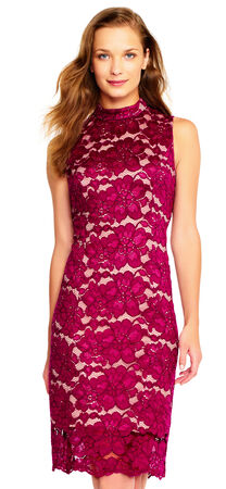 Sleeveless Floral Lace Sheath Dress with Mock Neck