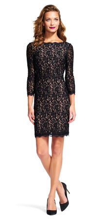 Three Quarter Sleeve Lace Sheath Dress with V-Back