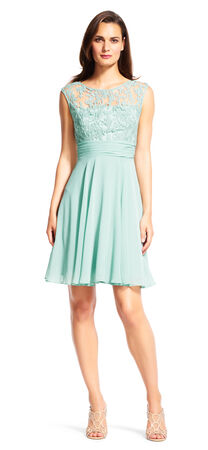 Filigree Chiffon Fit and Flare Dress