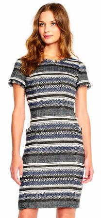 Short Sleeve Metallic Striped Tweed Dress with Ladder Back