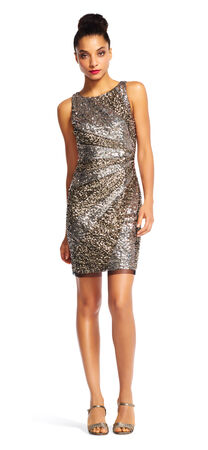 Sleeveless Spliced Sequin Cocktail Dress