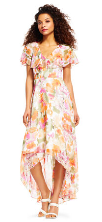 Watercolor Floral High Low Maxi Dress with Ruffle Cape