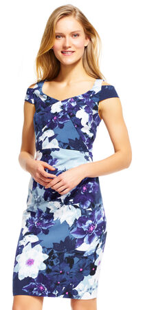 Floral Sheath Dress with Open Shoulder Design