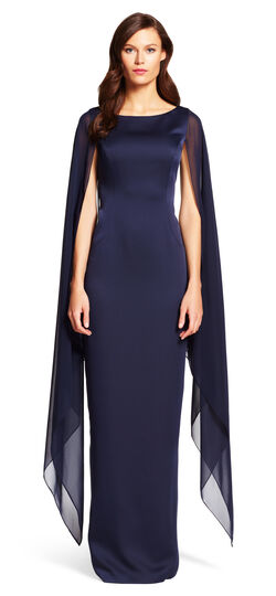 Satin Column Gown with Chiffon Cape