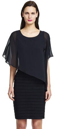 Flutter Sleeve Chiffon Overlay Dress with Banding