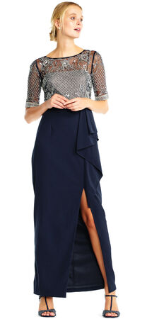 Short Sleeve Draped Crepe Gown with Beaded Mesh Bodice
