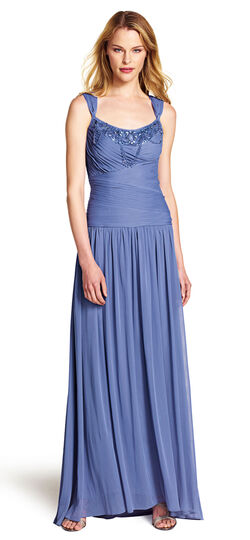 Stretch Tulle Gown with Beaded Neckline