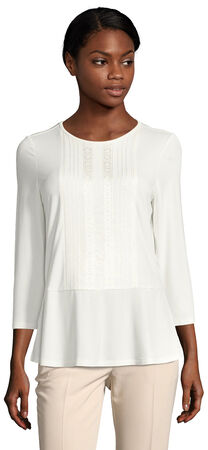 Three Quarter Sleeve Peplum Top with Tonal Embroidery