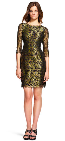 Metallic Lace Cocktail Dress with V Back