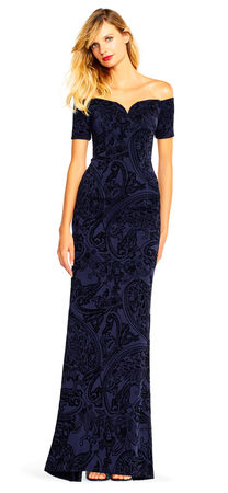 Off the Shoulder Paisley Velvet Gown with Short Sleeves