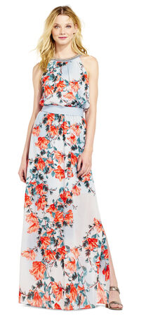 Lily Print Blouson Halter Dress with Beaded Neckline