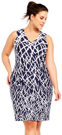 Stick Print Sheath Dress with V-Neck