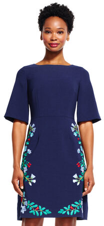 Short Sleeve A-Line Dress with Floral Embroidered Skirt