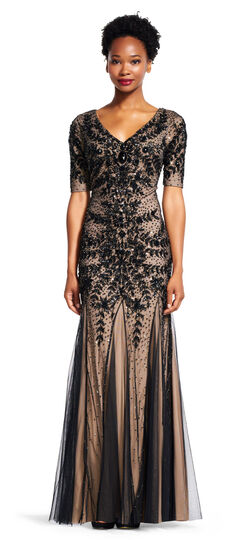 DowntonAbbeyInspiredDresses Floral Beaded Gown with Godets and Elbow Sleeves $409.00 AT vintagedancer.com