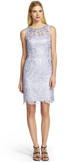 Sleeveless Lace Cocktail Dress with Beaded Neckline