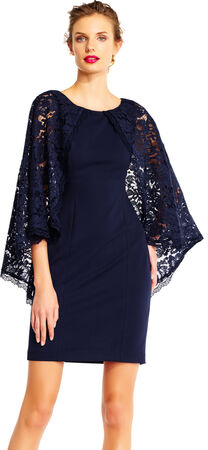 Sheath Dress with Sheer Lace Cape