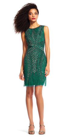 Sleeveless Chevron Beaded Cocktail Dress