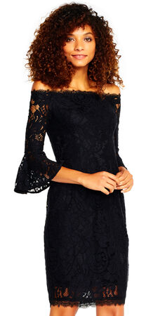 Off The Shoulder Lace Dress with Bell Three Quarter Sleeves