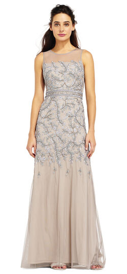 VIne Beaded Mermaid Dress with Illusion Neckline