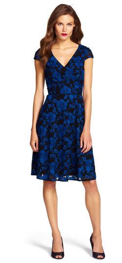 Print Chiffon Fit & Flare Dress
