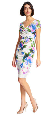 V-neck Shirred Floral Dress