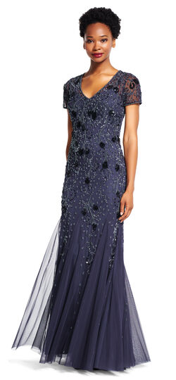 Short Sleeve Godet Gown with Beaded Florals