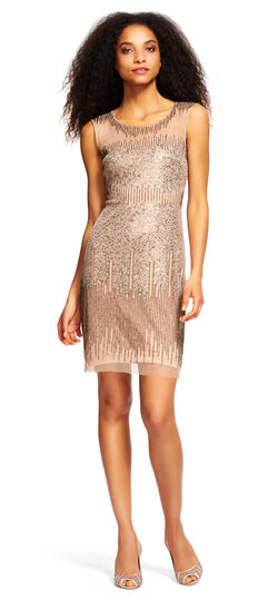 Sleeveless Beaded Cocktail Dress with Sheer Details