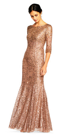 Three Quarter Sleeve Sequin Mermaid Gown with Scoop Back