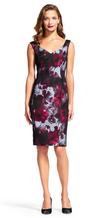 Dark Shimmer Floral Sheath Dress with Exposed Zip Back