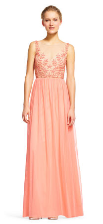 Sheer Star Beaded Embroidered Dress with Chiffon Skirt