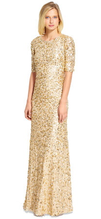 Three Quarter Sleeve Sequin Gown