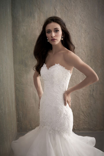 Beaded Lace Mermaid Wedding Dress with Tulle Organza Skirt - 31012