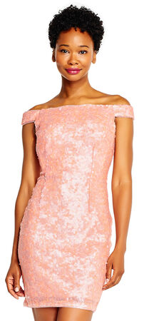 Off the Shoulder Sequin Sheath Dress