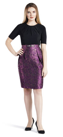 Fit and Flare Jacquard Dress