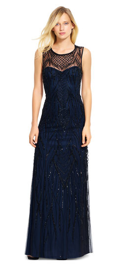 Fully Beaded Illusion Neck Gown