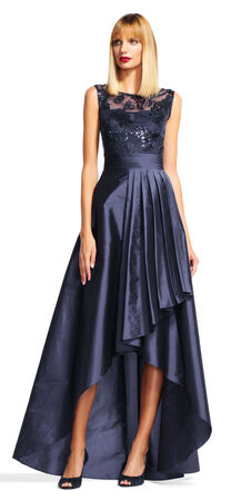 Sequin Floral Dress with High Low Taffeta Skirt