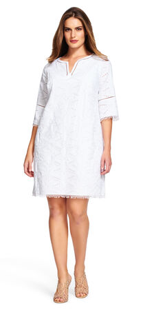 Eyelet Shift Dress with Bell Sleeves