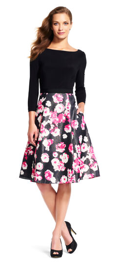 Three Quarter Sleeve Midi Dress with Shimmer Floral Skirt