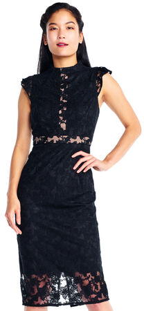 Cap Sleeve Mock Neck Lace Dress with Sheer Illusion Insets
